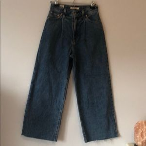 Levi's pleated crop jeans
